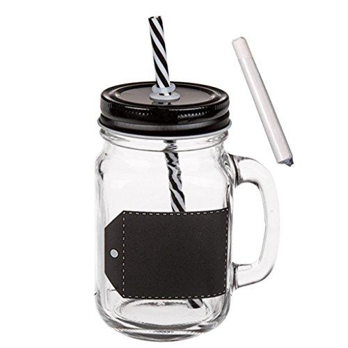 6 x trinkglas zum beschriften mit henkel und schwarzen deckel strohhalm einmachglas optik. Black Bedroom Furniture Sets. Home Design Ideas