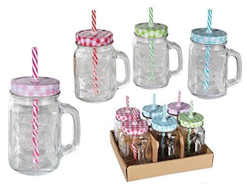 6 x trinkgl ser einmachglas mit henkel deckel und strohhalm 400ml mason jar smoothies online. Black Bedroom Furniture Sets. Home Design Ideas