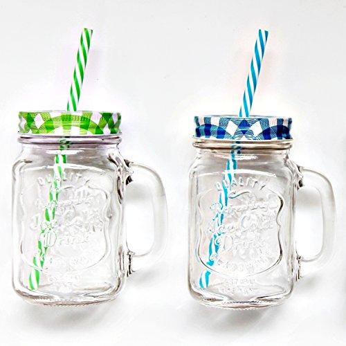 bada bing 4er set vintage trinkglas mit karo deckel und strohhalm und gratis wein fibel tt. Black Bedroom Furniture Sets. Home Design Ideas