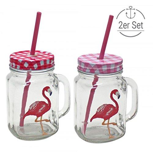 trinkglas flamingo im 2er set mit deckel und strohhalm f llmenge 450ml smoothies online. Black Bedroom Furniture Sets. Home Design Ideas