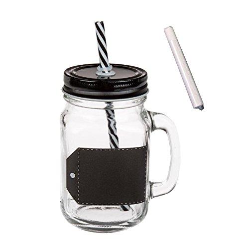 trinkgl ser mit deckel strohhalm und beschreibbarem tafel etikett 6er set 450 ml smoothies. Black Bedroom Furniture Sets. Home Design Ideas