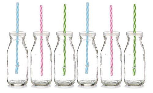 zeller trinkflasche trinkglas mit strohhalm glasflasche glas flasche 250ml verschiedene. Black Bedroom Furniture Sets. Home Design Ideas
