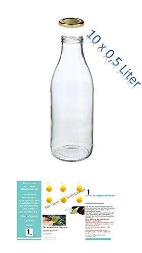 10 leere glasflaschen 500ml milch saftflaschen weithals flaschen einmachglas essig l flasche. Black Bedroom Furniture Sets. Home Design Ideas