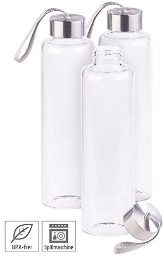 3er set trinkflasche aus borosilikat glas 550 ml bpa. Black Bedroom Furniture Sets. Home Design Ideas