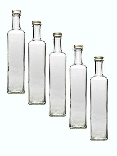 glasflaschen set mit schraubverschluss gold 18 teilig f llmenge 500 ml 6 maras 6 ausgie er. Black Bedroom Furniture Sets. Home Design Ideas