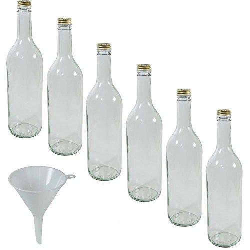 viva haushaltswaren 6 x glasflasche 750 ml mit goldfarbenem schraubverschluss flasche zum. Black Bedroom Furniture Sets. Home Design Ideas